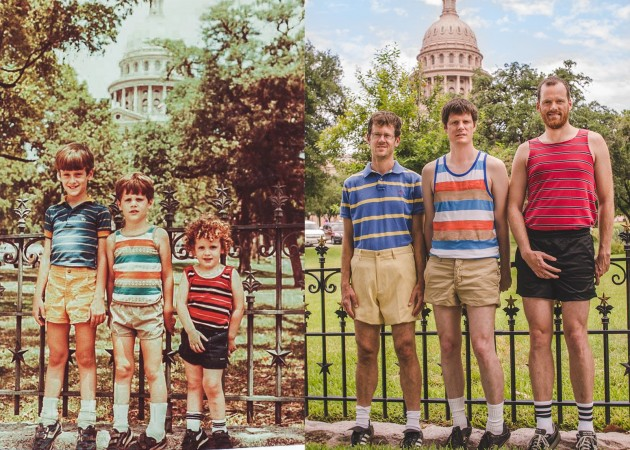 1984 and 2013 - 29 years later, my brothers and I recreated our family vacation photo at the Texas State Capitol - Imgur
