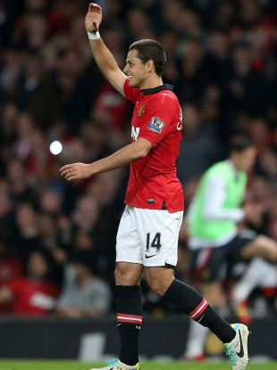 Hernandez celebrates his goal.