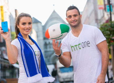 Holly Carpenter and Dave Kearney at today's launch of the HTC One.