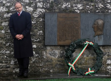 Micheál Martin lays a wreath at the annual Fianna Fáil Wolfe Tone Commemoration in Bodenstown in Kildare today.
