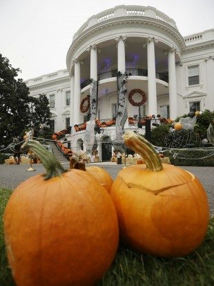 Halloween decorations adorn the South Portico of the White House in Washington