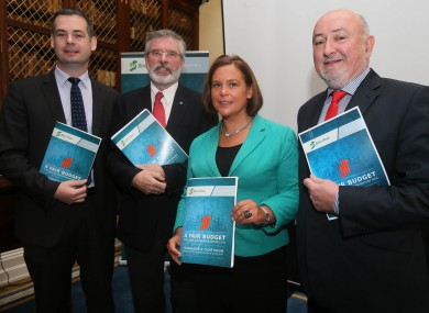 Pearse Doherty, Gerry Adams, Mary Lou McDonald and Caoimhghin Ó Caolain at their pre-Budget submission launch today.