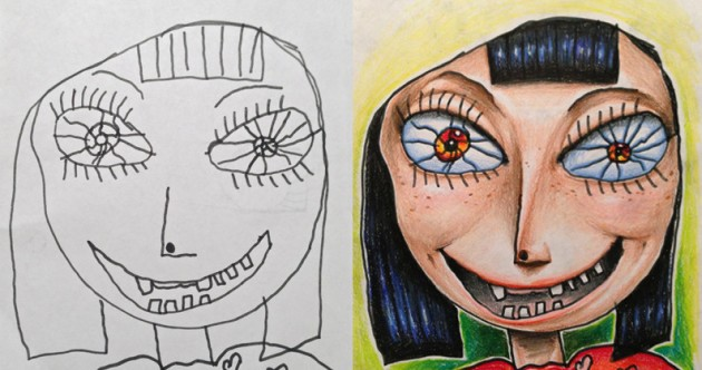 Artist colours in his children's drawings with magical results